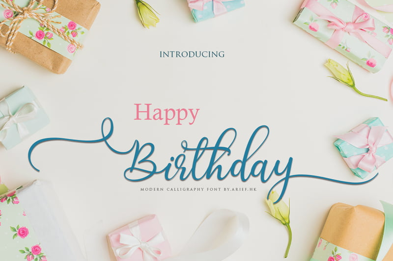 Birthday Font - demonstrating use of flourishes on typography