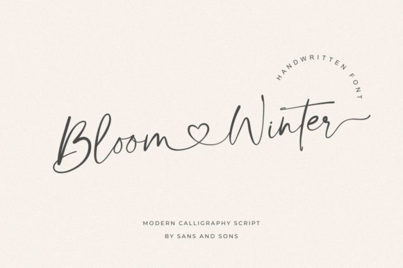 Bloom & Winter Font - demonstrating use of flourishes on typography