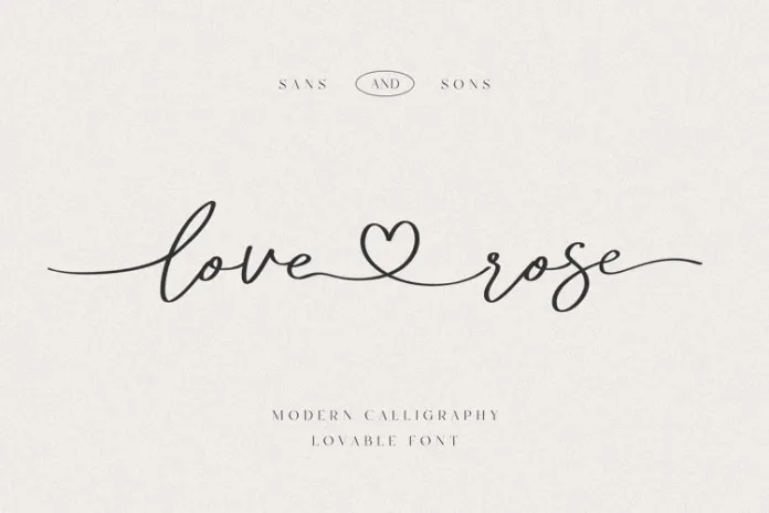 Love & Rose Font - demonstrating use of flourishes on typography