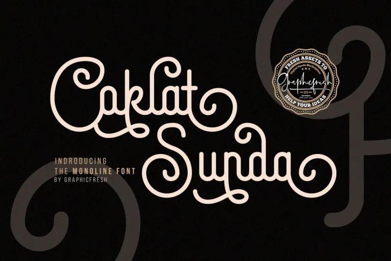 Coklat Sunda Font - demonstrating use of flourishes on typography