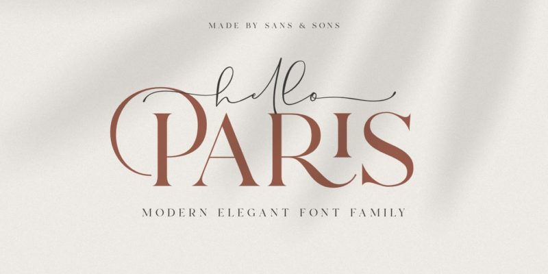 Hello Paris Script Font - demonstrating use of flourishes on typography