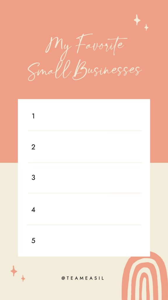 My Favorite Small Business Template - Editable template