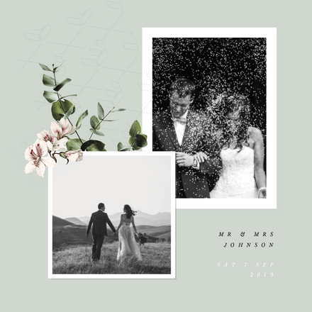 Double image frame polaroid template featuring wedding images