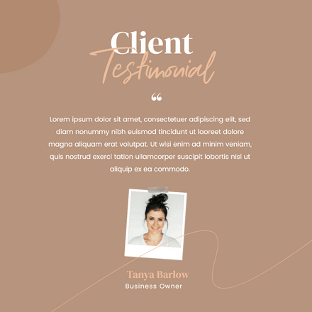 Client testimonial graphic template with polaroid image frame for business owner