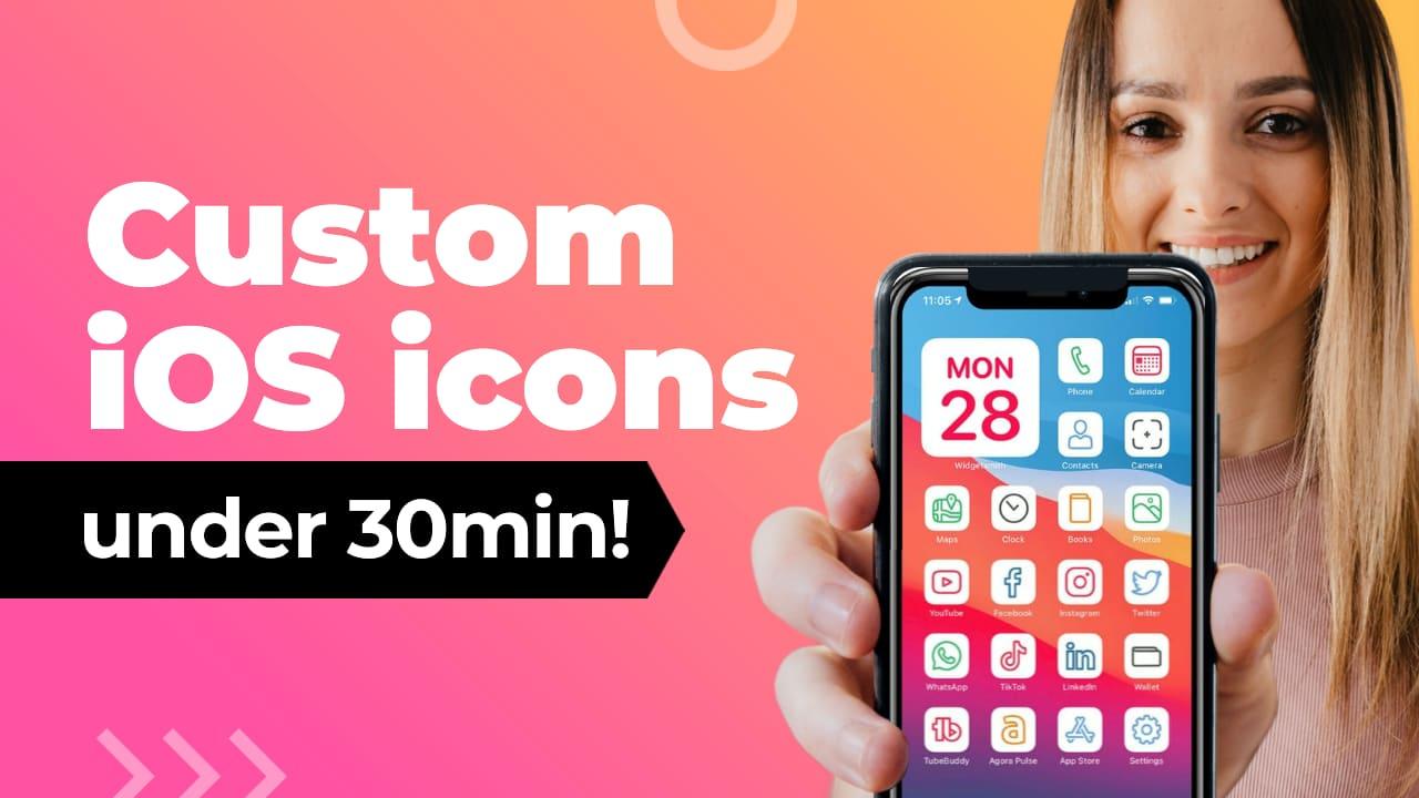 Easil Free YouTube Thumbnail Template - Custom iOS icons under 30min