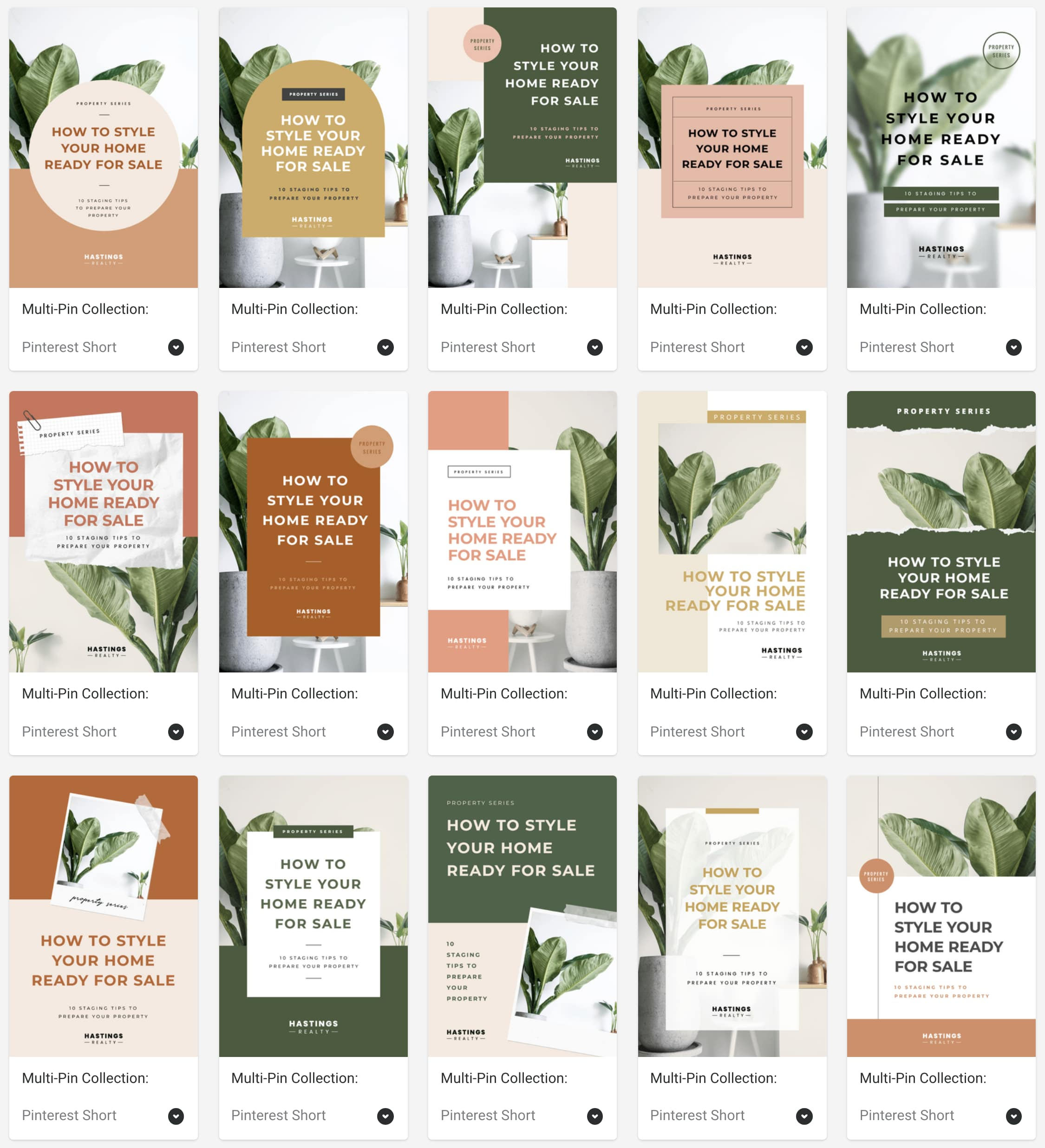 Create fresh Pinterest Pins fast with this Collection of 15 Linked designs - Green theme